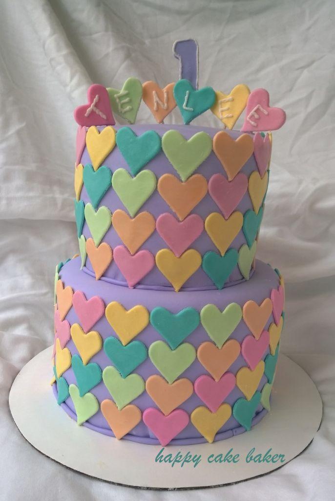 Rainbow Hearts 1st Birthday Happy Cake Baker