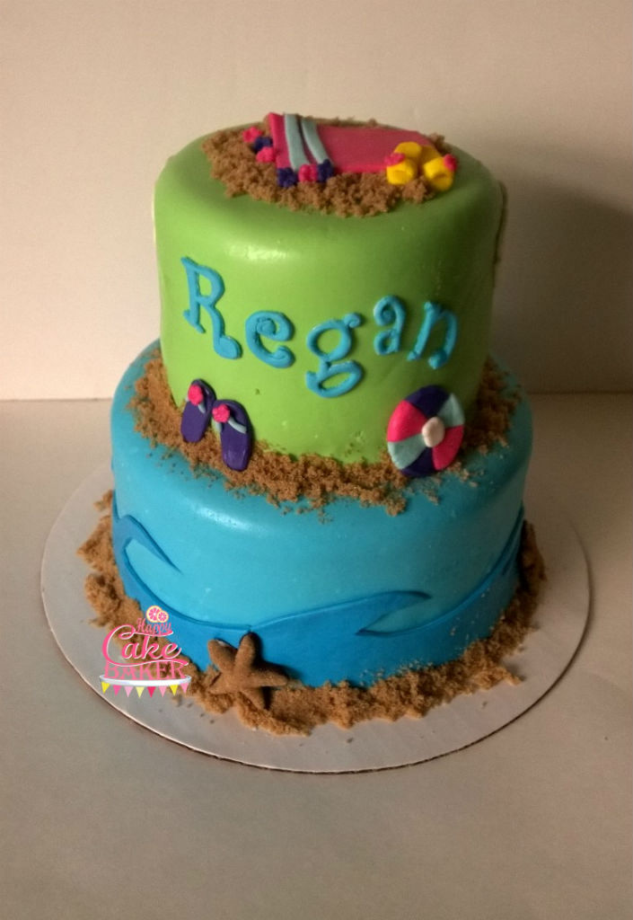 Terrific Beach Themed Birthday Happy Cake Baker Funny Birthday Cards Online Inifofree Goldxyz