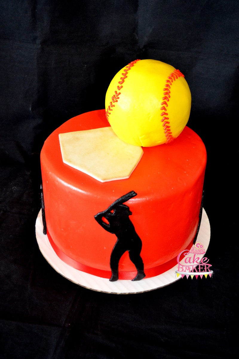 Super Softball Party Happy Cake Baker Personalised Birthday Cards Paralily Jamesorg